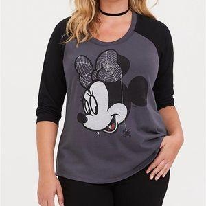 Torrid T-Shirt 3X Minnie Mouse Raglan Grey/Black